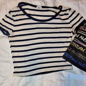 Striped XS Garage Cropped T-Shirt